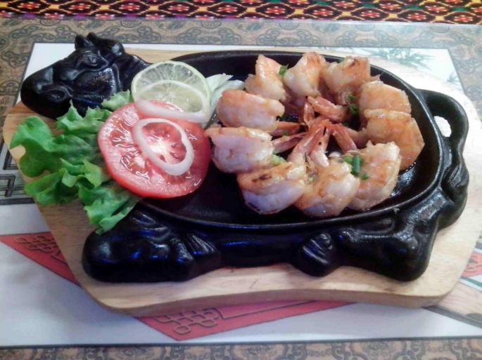 Crevettes au four blambées